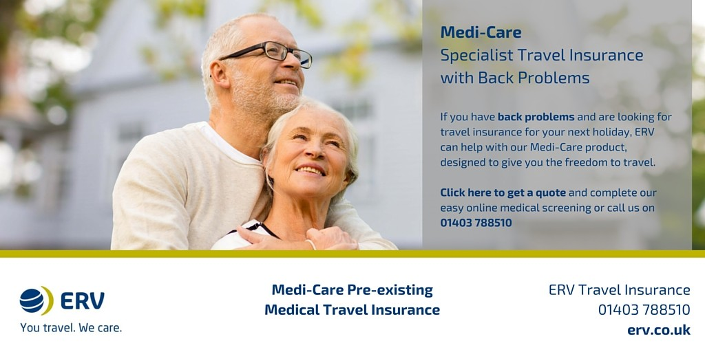 Back problems travel insurance with Medi-Care from ERV
