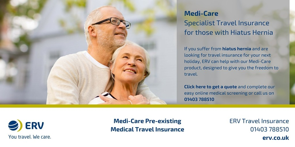 Hiatus Hernia travel insurance with Medi-Care from ERV