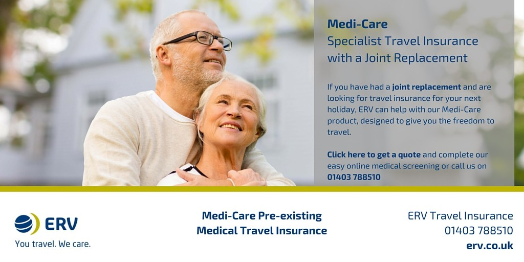 Joint replacement travel insurance from ERV Medi-Care